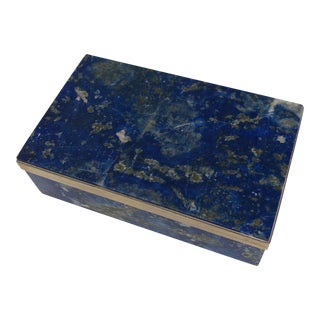 Lapis Lazuli and Silver Modernist Box by Morita Gil For Sale