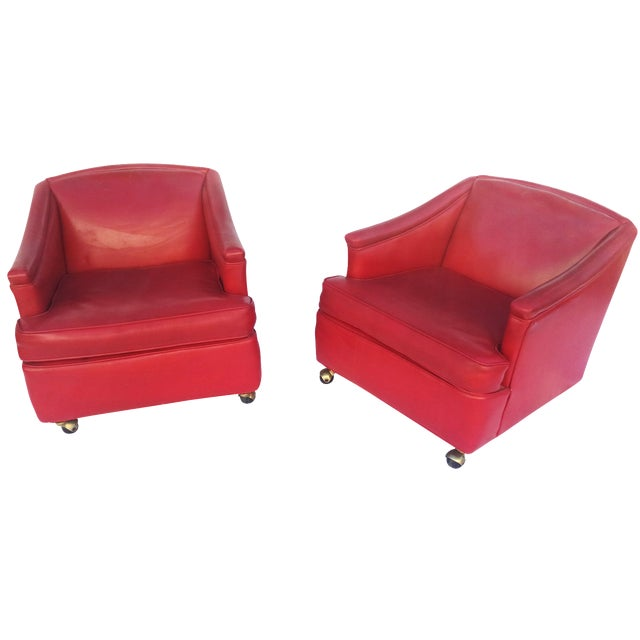 Lipstick Red Vinyl Club Chairs - A Pair For Sale