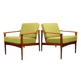 1960s Mid Century Modern Teak Lounge Chairs - a Pair