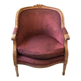 Vintage Carved French Armchair For Sale
