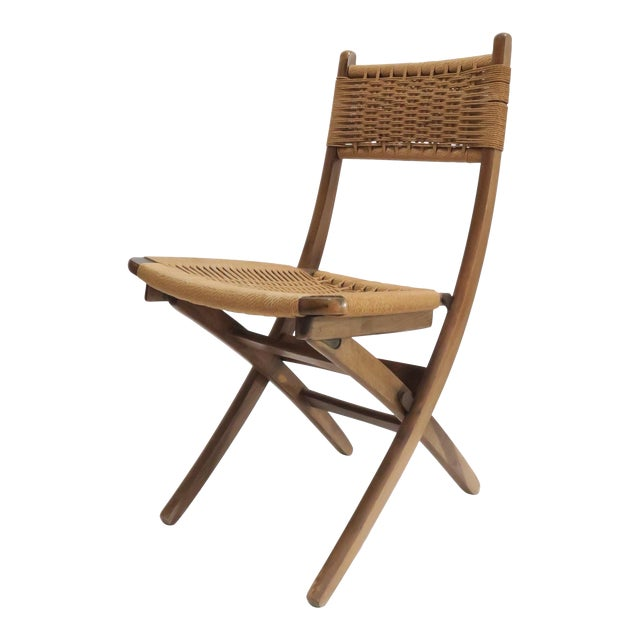 Vintage Danish Modern Rope Folding Chair For Sale