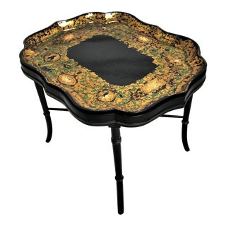 19th C. English Rococo Revival Black & Gilt Papier Mache Tray Table For Sale