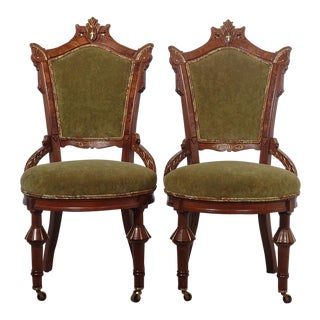 Eastern Influenced Victorian Side Chairs - a Pair For Sale