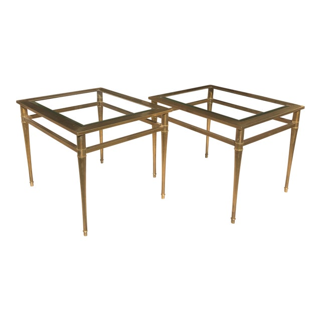 Glass Top Brass End Tables - a Pair For Sale