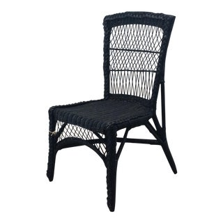 Vintage Blue Wicker Accent Chair
