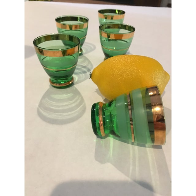 1960s Mid-Century Moroccan Style Green With Gold Trim Decanter & Glasses - Set of 6 For Sale - Image 5 of 6
