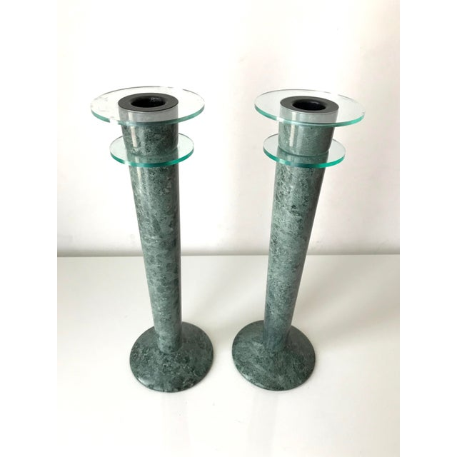 Post Modern Green Marble and Lucite Candlestick Holders - A Pair. Great modern 80s design - a pair of green marble and...