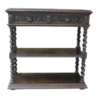 Antique French Oak 19th Century Gothic Renaissance Revival Barley Twist Server Sideboard For Sale