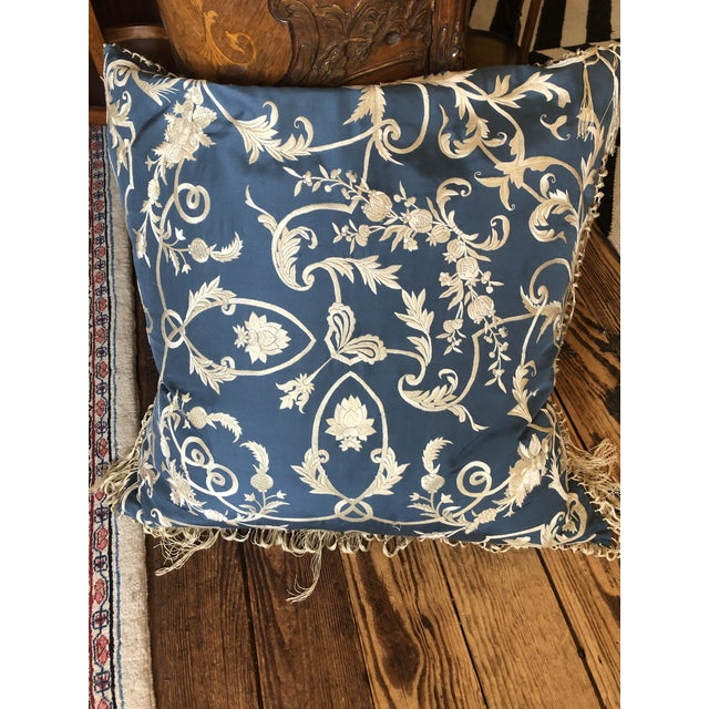 2010s Big Silk Periwinkle Blue and Cream Ralph Lauren Embroidered Pillows -A Pair For Sale - Image 5 of 8