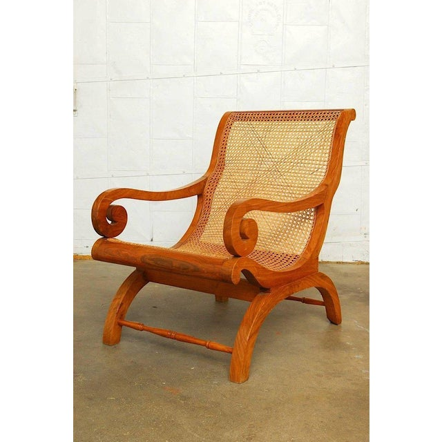 Anglo-Indian Teak and Cane Plantation Chair For Sale - Image 11 of 13