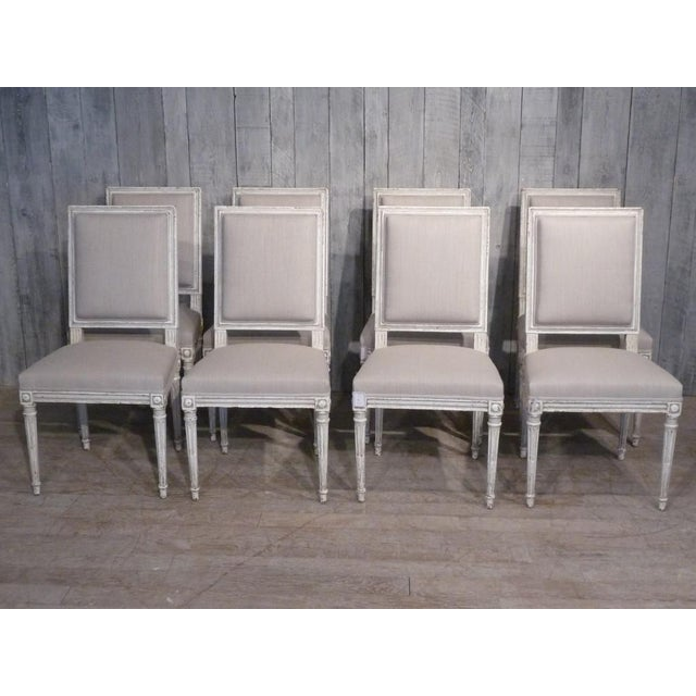 Gray Set of 10 Louis XVI Style Dining Chairs For Sale - Image 8 of 8