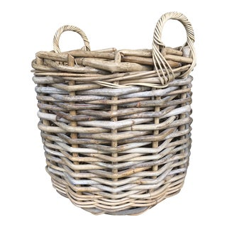 Large Woven Wood Basket For Sale