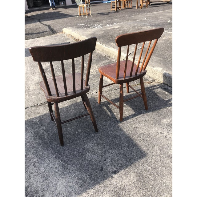 Brown Vintage Rustic Schoolhouse Chairs - a Pair For Sale - Image 8 of 12