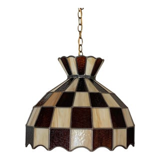 Vintage Checkerboard Tiffany Style Stained Glass Hanging Light 1970s For Sale