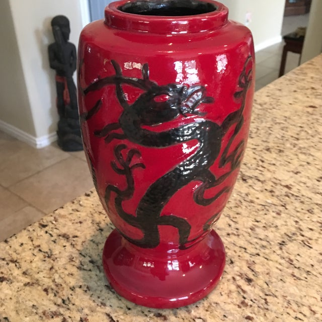 1967 Mid-Century Crimson Red & Black Dragon Vase For Sale - Image 11 of 11