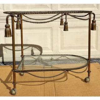 Vintage Rope & Tassel Metal Wheeled Cart With Glass Shelves Preview