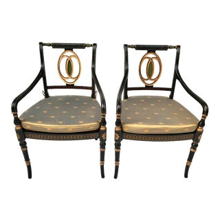 Theodore Alexander Hand-Painted Arm Chairs With Cane Seats, Signed by Charles Spencer - a Pair For Sale