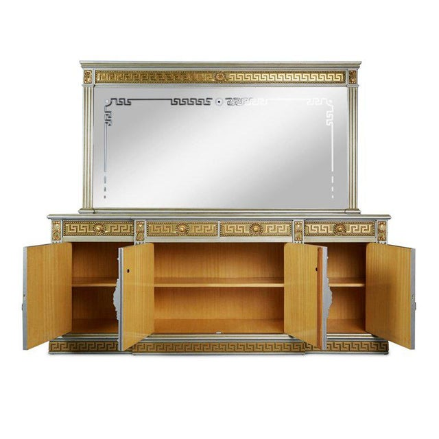 Impressive modernist Greek Revival server in the style of Versace. This grand piece comprises of a broad credenza with a...
