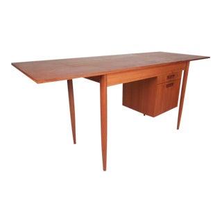 Mid-Century Modern Arne Vodder Style Slide Top Danish Teak Desk For Sale