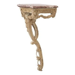 Italian 19th Century Carved Demi-Lune Marble-Top Console Table For Sale
