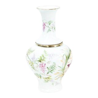 French Two Piece Porcelain and Brass Oil Lamp Vase For Sale