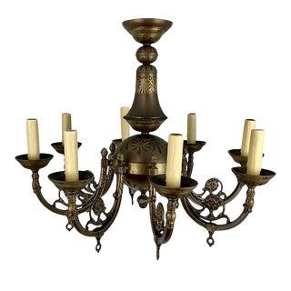 Italian Brass 8 Light Chandelier For Sale