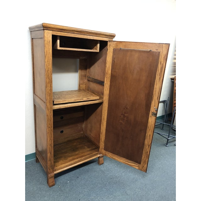 Americana Converted Oak Armoire For Sale - Image 3 of 12