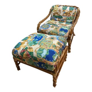 Vintage McGuire San Francisco Twisted Rattan Chair & Ottoman For Sale