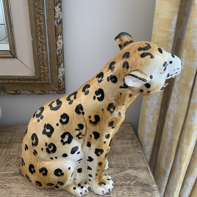 1970s Vintage Italian Hollywood Regency Style Ceramic Leopard For Sale - Image 5 of 7