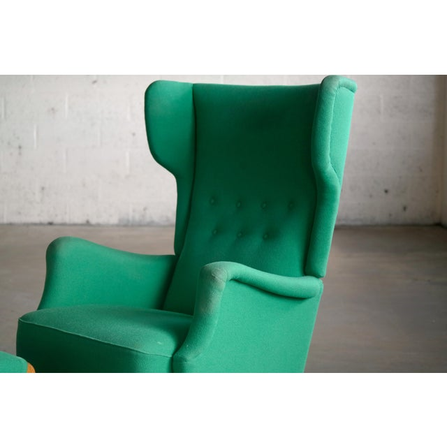 1960s Fritz Hansen 1950s Danish Wingback Chair Model 8023 With Ottoman For Sale - Image 5 of 12