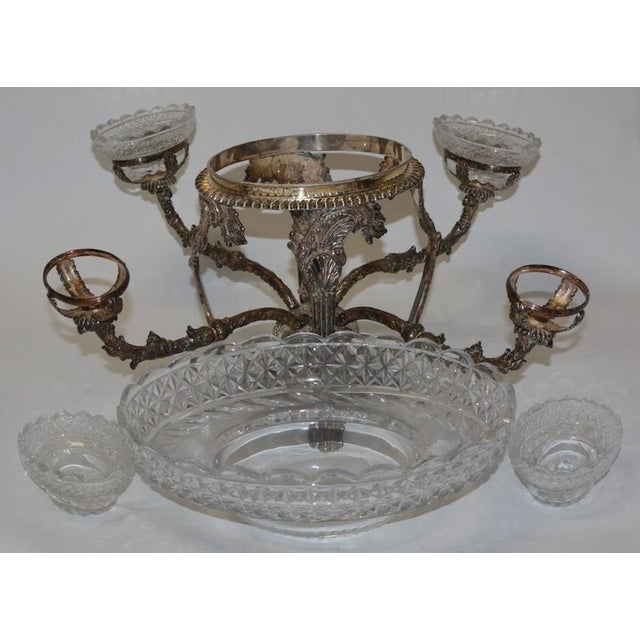 Bohemian Cut Crystal & Silver Centerpiece - Image 5 of 10