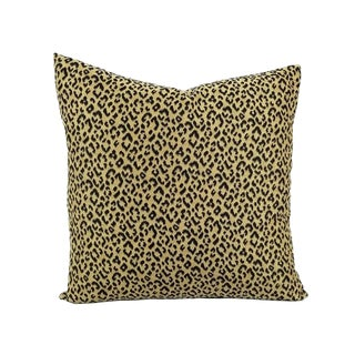 "Kravet Weaves Wild Kingdom Black and Brown Leopard Pillow Cover - 20"" X 20"" Small Animal Leopard Print Cushion Case For Sale"