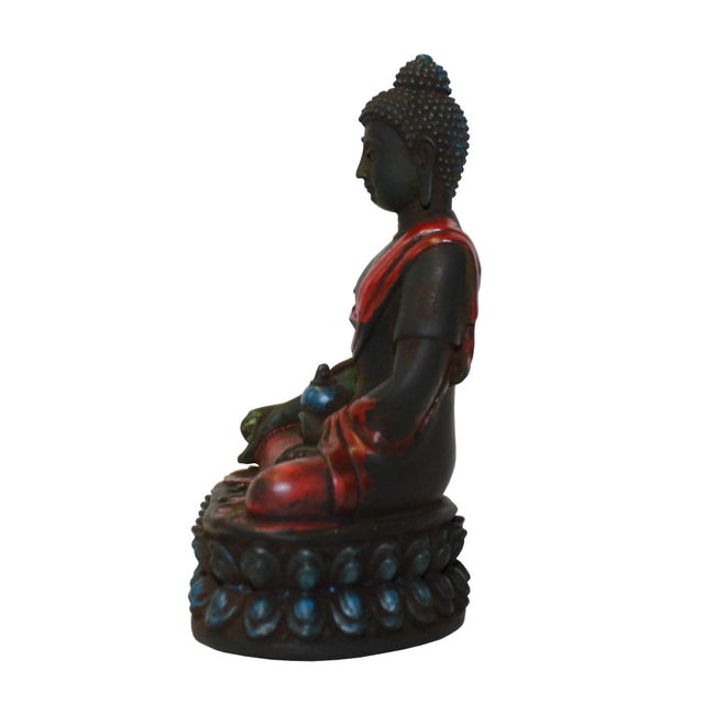 Crystal Glass Color Paint Small Chinese Sitting Buddha Statue For Sale - Image 5 of 6