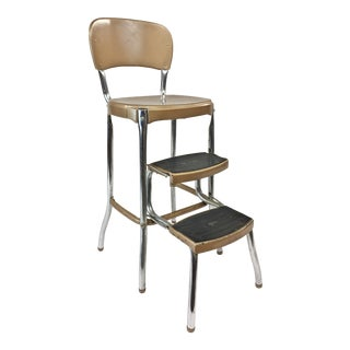 Vintage Brown Metal Step Stool by Cosco For Sale