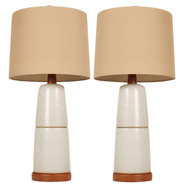 Gordon Martz Stone White Double Stack Ceramic Lamps - a Pair For Sale