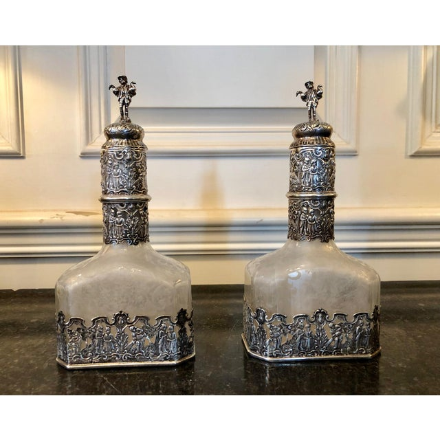 18th Century German Silver Encased Etched Glass Decanters Augsburg 1781 - a Pair For Sale - Image 13 of 13