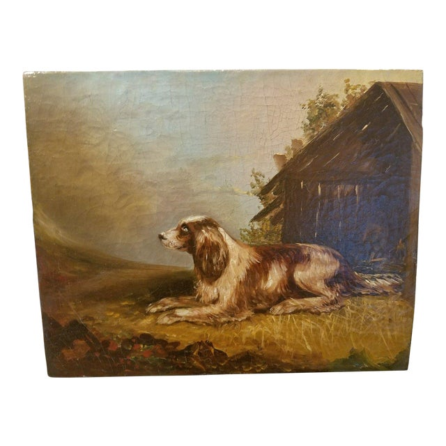 19th C. English Springer Spaniel Dog Painting For Sale