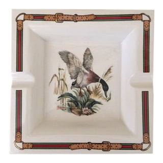 Vintage Gucci White Porcelain Square Ducks Ashtray For Sale