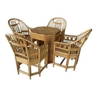 Vintage Brighton Pavilion Style Bamboo and Wicker Weave Table Four Chairs For Sale