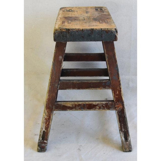 Rustic Primitive Country Wood Farmhouse Stool For Sale - Image 4 of 8