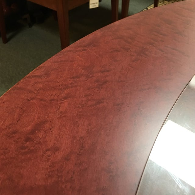Round Birdseye Maple Dining Table with Glass Top For Sale - Image 5 of 8