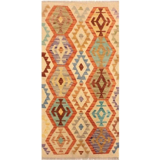 Liron Ivory/Blue Hand-Woven Kilim Wool Rug -2'6 X 4'0