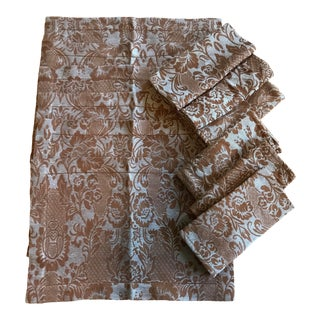 Italian Damask Tessitura Pardi Placemats and Napkins - Set of 6 For Sale