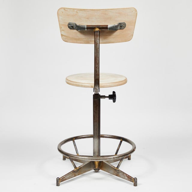 Antique Industrial Light Wood and Metal Adjustable Swivel High Chair For Sale - Image 4 of 7