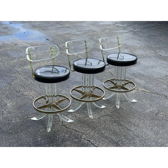 1970s Hill Mfg Lucite Swivel Barstools - Set of 3 For Sale - Image 12 of 12