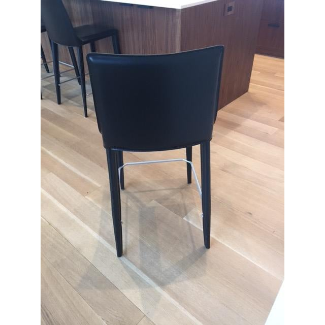 Black Leather Bottega Counter Stools - Set of 4 - Image 5 of 11