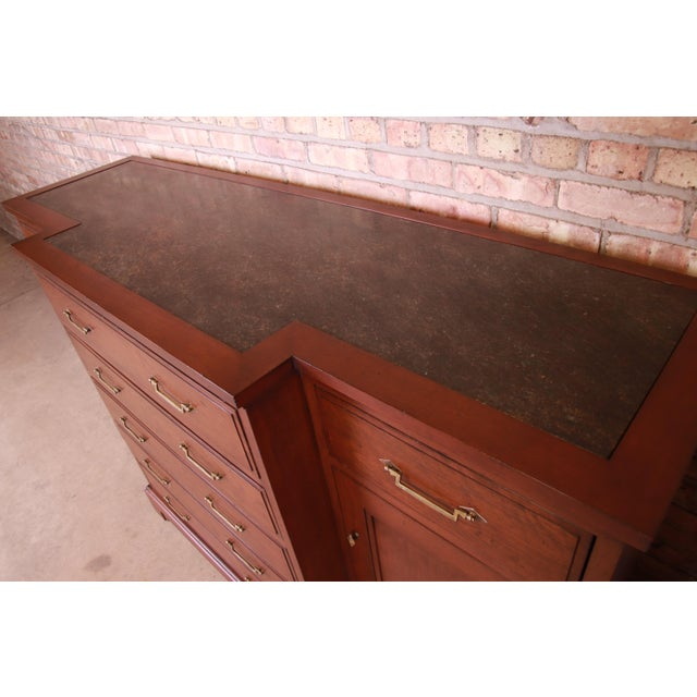 Late 20th Century French Provincial Solid Mahogany Marble Top Sideboard Credenza Attributed to Grange For Sale - Image 5 of 13