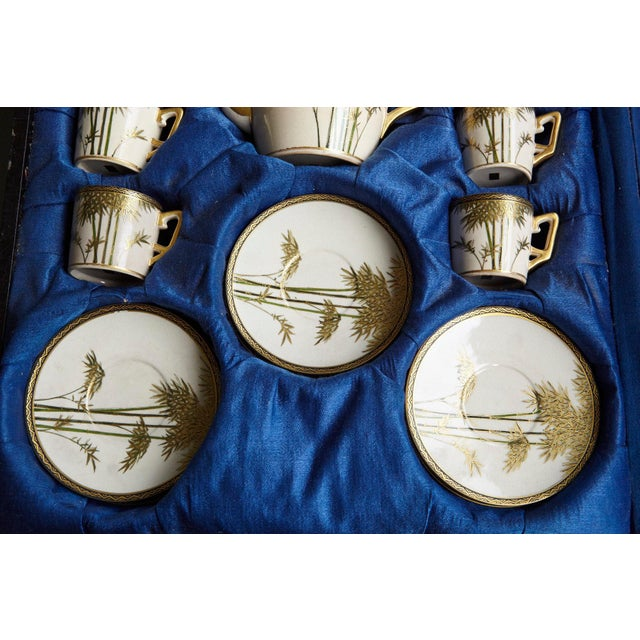 Japanese Hand Painted and Gilded Demitasse Coffee Service, New in Box, 1930s For Sale - Image 9 of 13