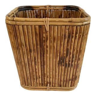 1960s Pencil Reed Rattan Paper Basket For Sale