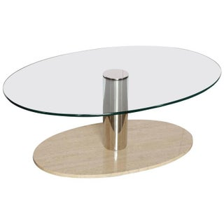 Mario Bellini for Cassina Travertine and Chrome Coffee Table with Glass